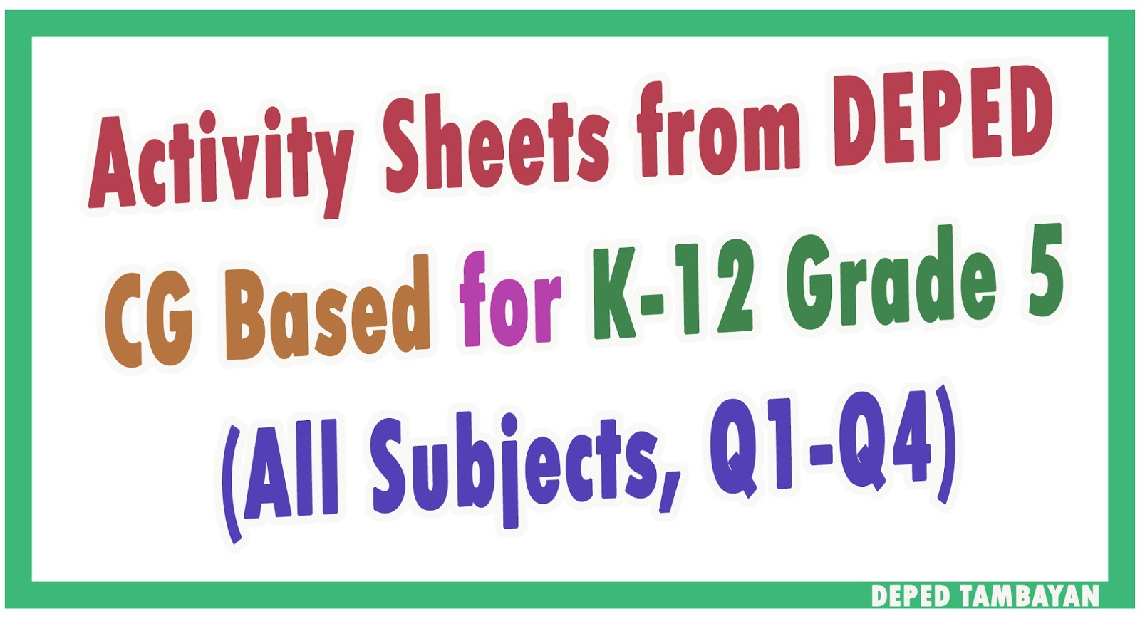 Learning Activity Sheets For Grade 5