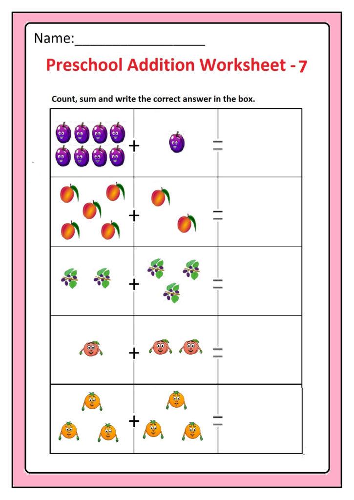Preschool Basic Addition Worksheets Free Printable