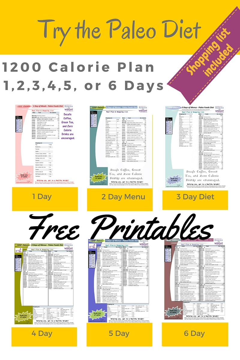 Free Printable 1200 Calorie Diet Plan
