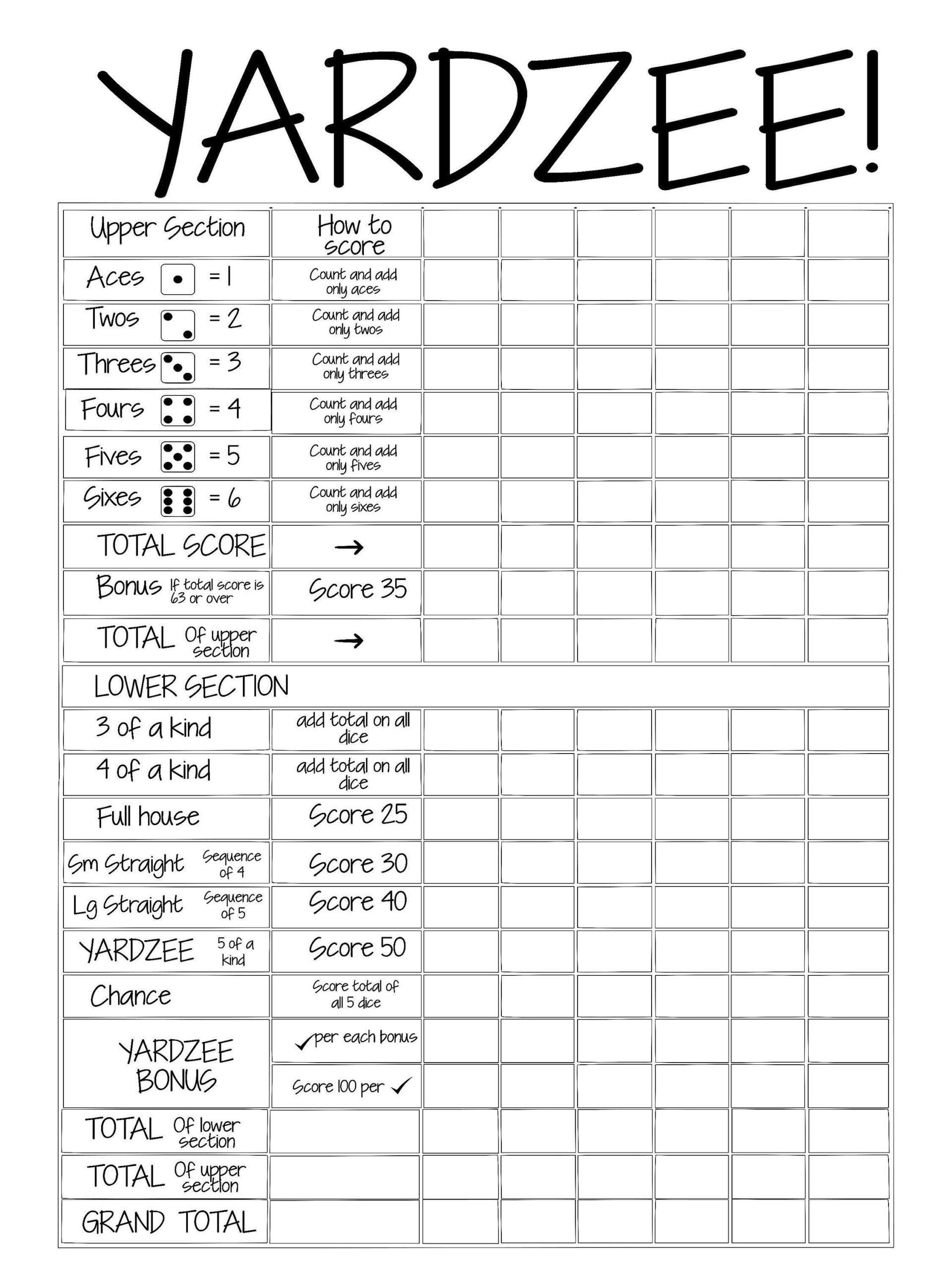 Free Printable Yardzee Score Sheets