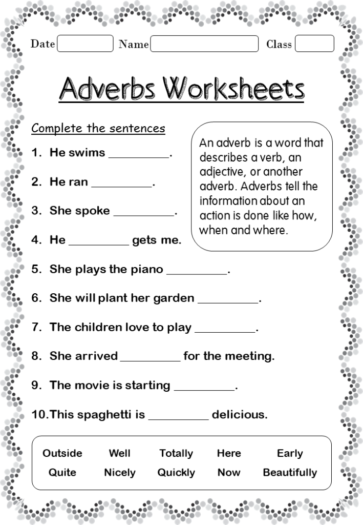Printable Adverb Worksheets For 2nd Grade Your Home Teacher