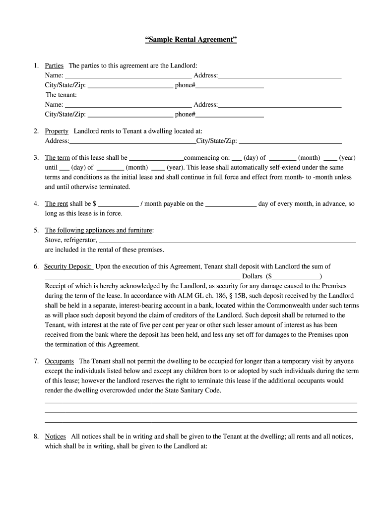 Free Printable Rental Agreement