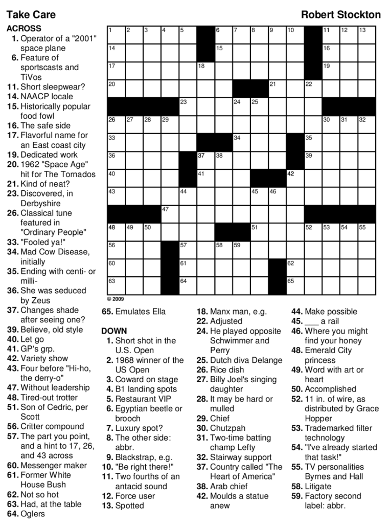 Printable Games For Adults Free Printable Crossword