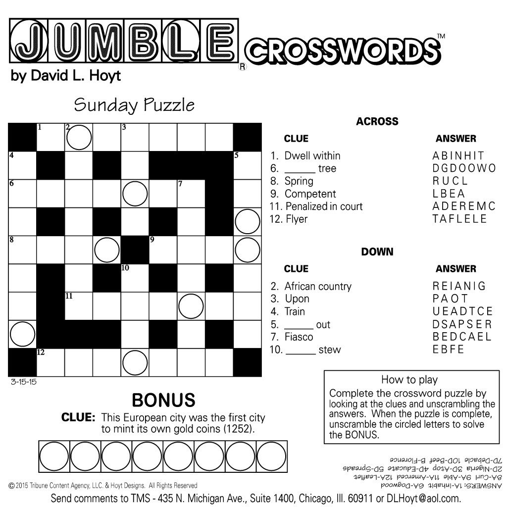 Printable Jumble Puzzles With Answers Printable