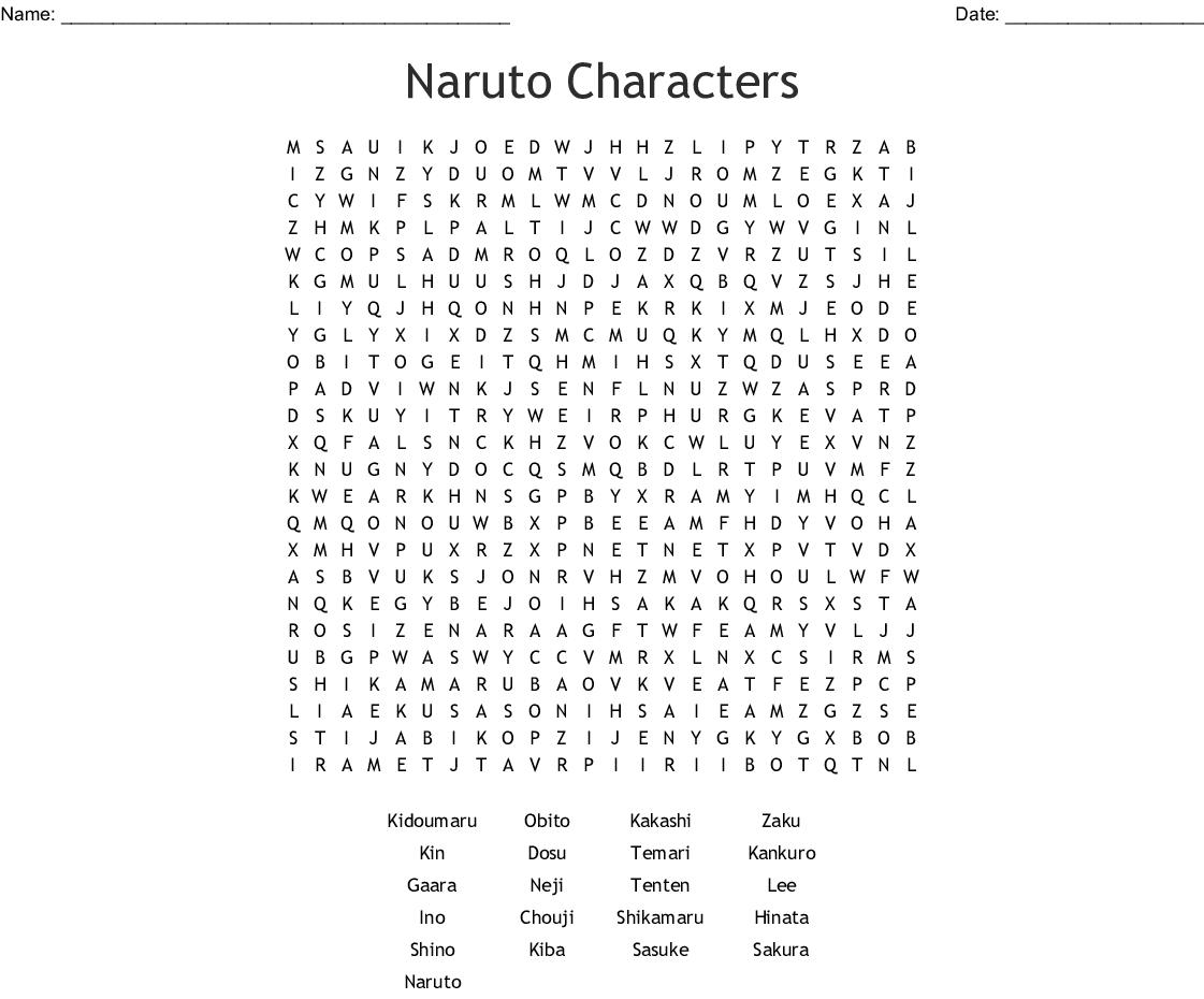 Printable Naruto Crossword Puzzles