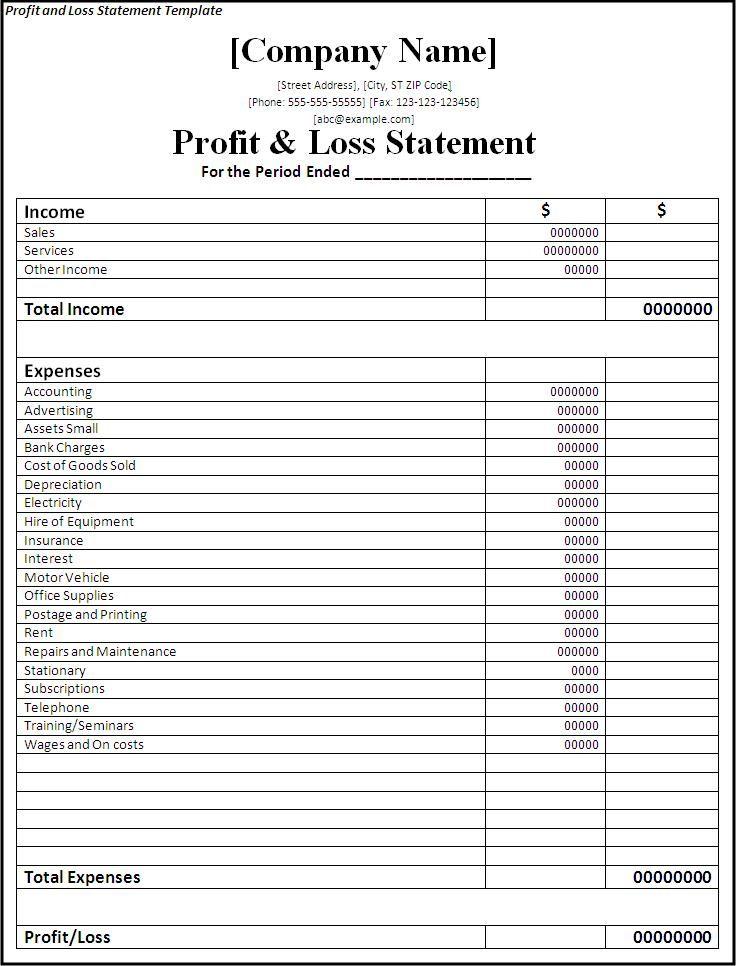 Free Printable P&l Statement