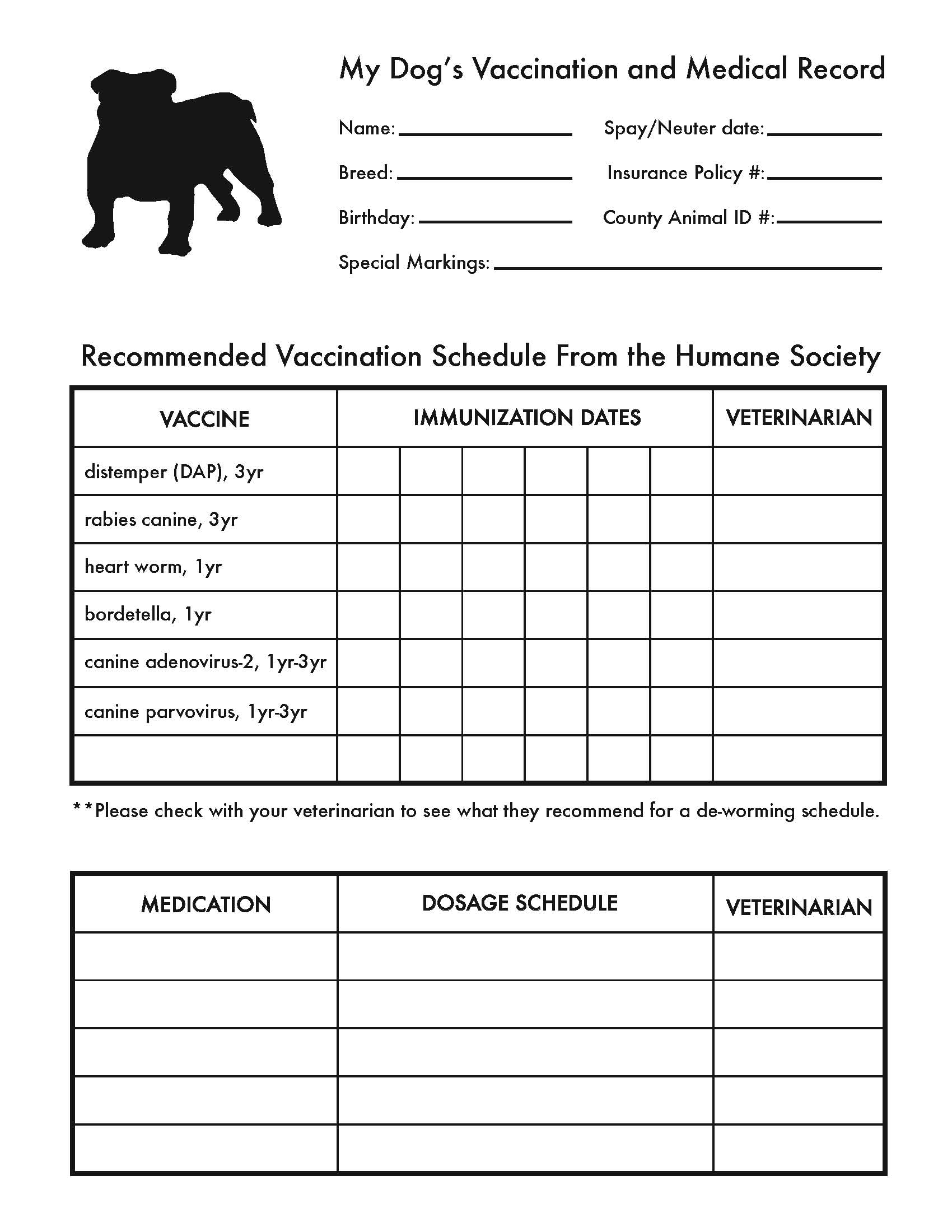 Free Printable Pet Vaccination Record