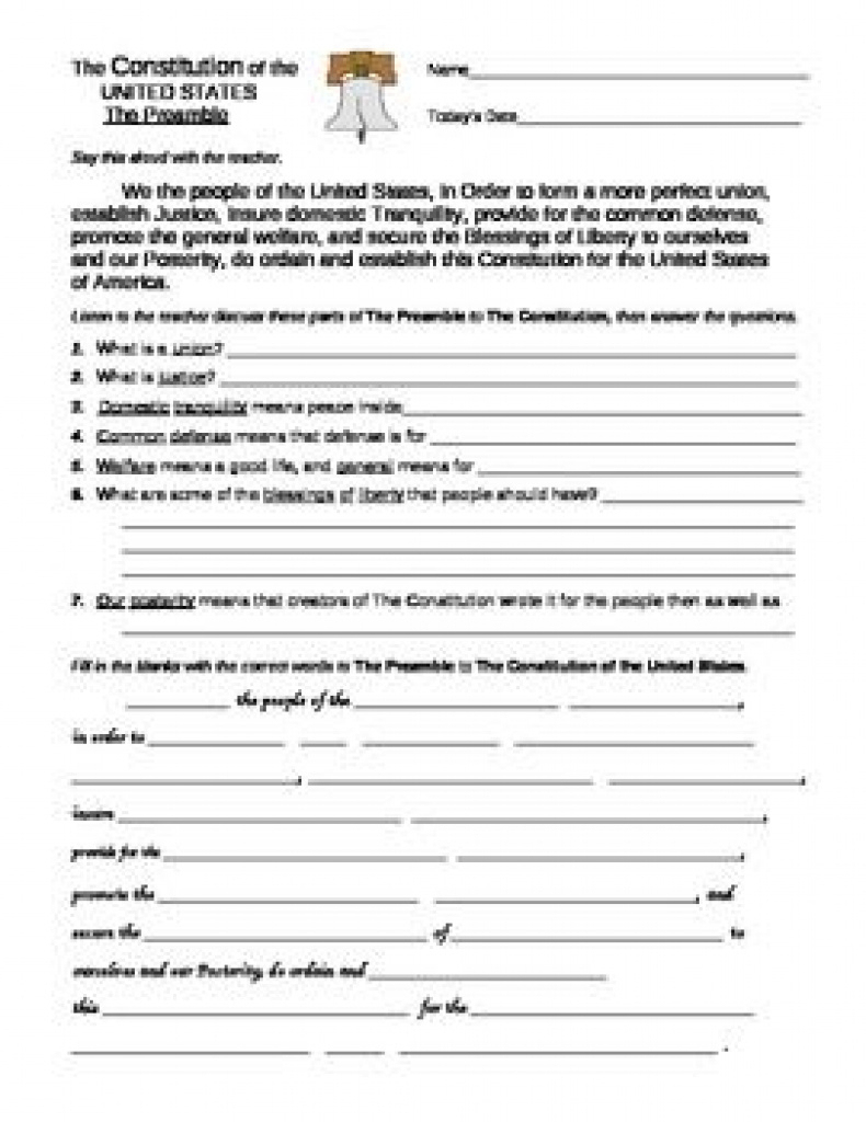 Free Printable U.s. Government Worksheets