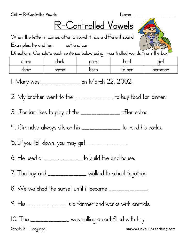 R Controlled Vowels Free Printable Worksheets