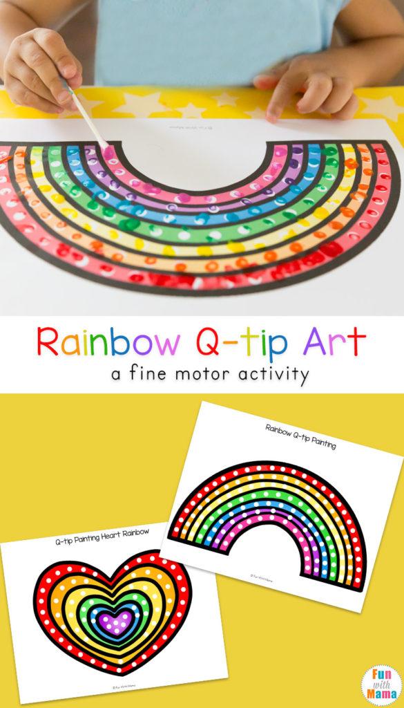 Rainbow Q Tip Art Printable Fun With Mama