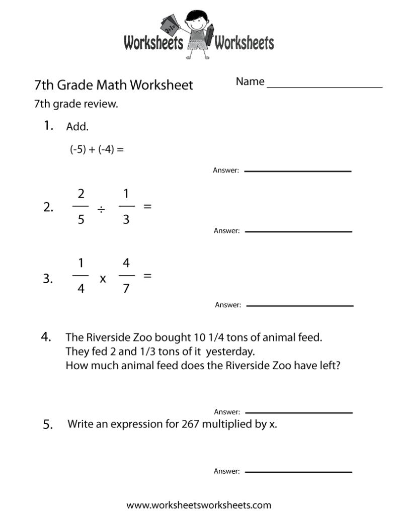 Seventh Grade Math Practice Worksheet Worksheets Worksheets