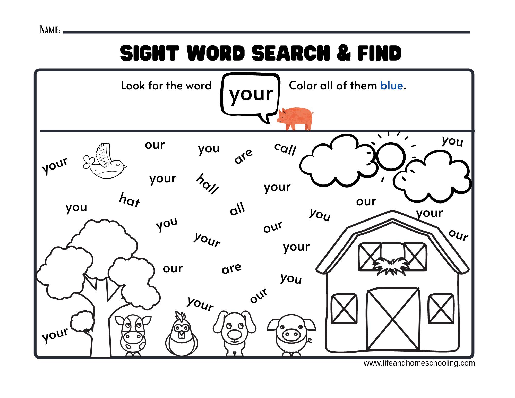 Sight Words Worksheets