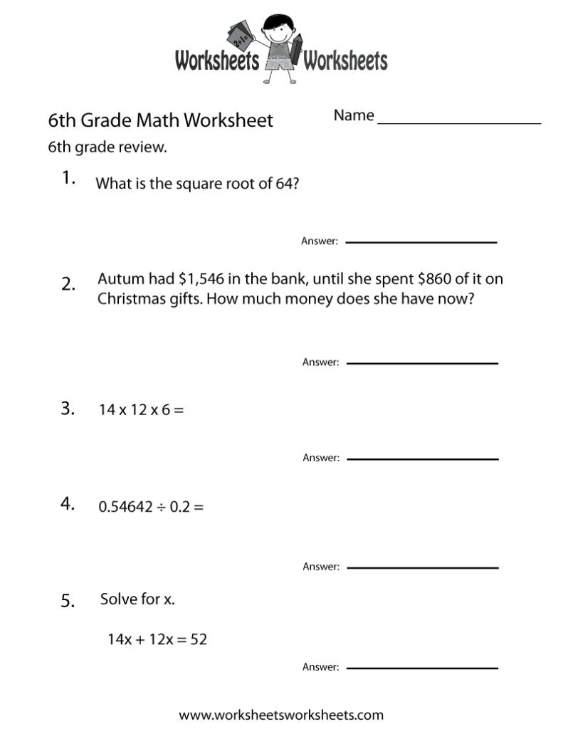 Sixth Grade Math Practice Worksheet Free Printable