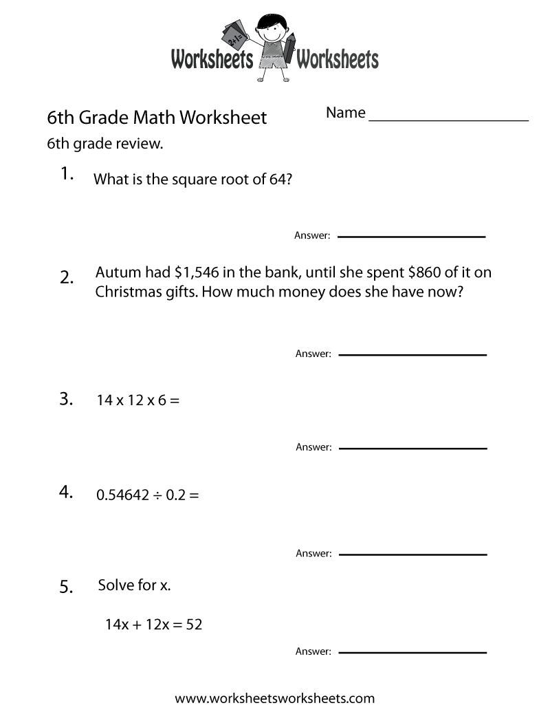 Grade 6 Free Printable Worksheets