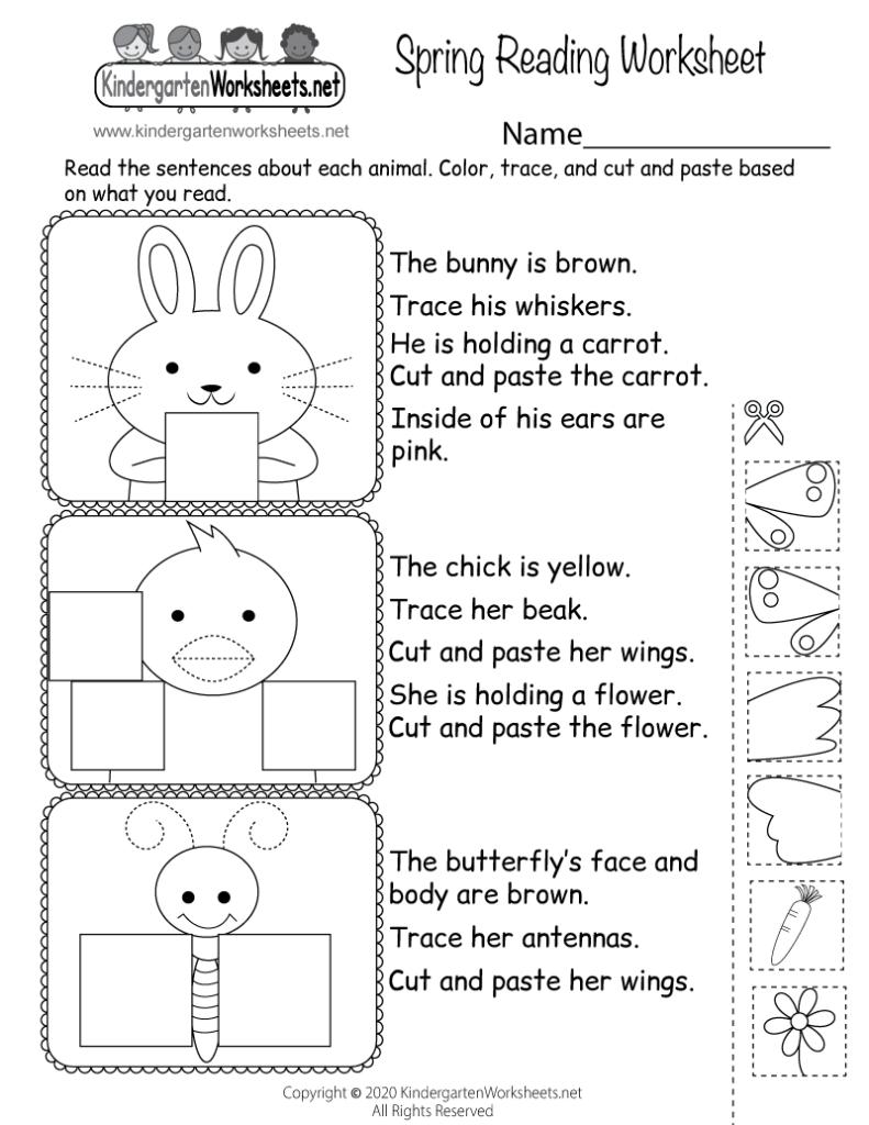 Spring Reading Worksheet For Kindergarten