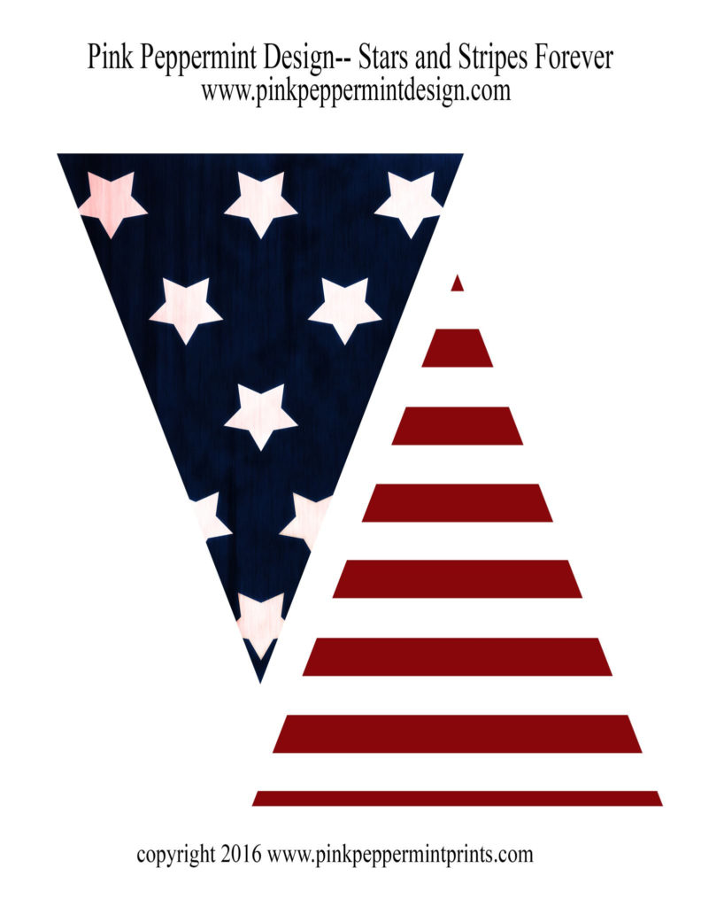 Stars And Stripes Forever 4th Of July Printable Pennant