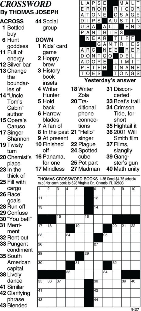 Thomas Joseph Crossword Printable Printable Template Free