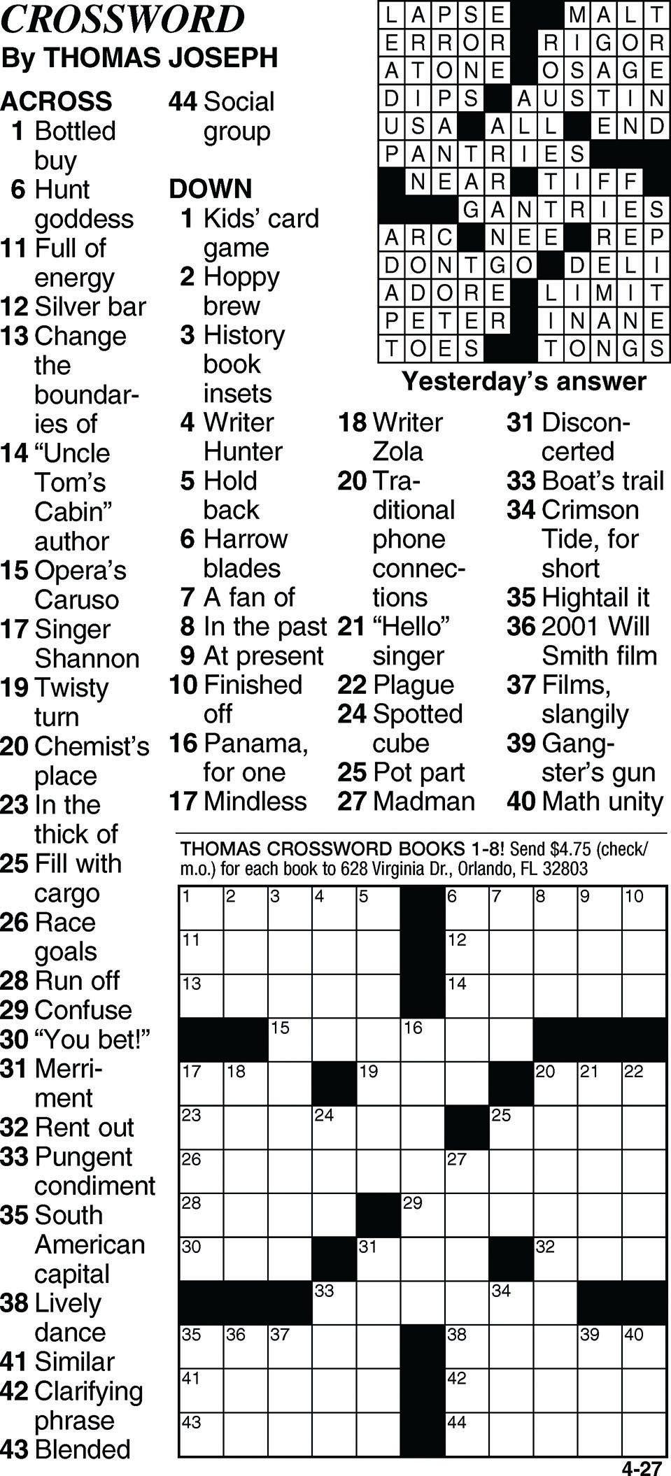 Printable Joseph Crossword