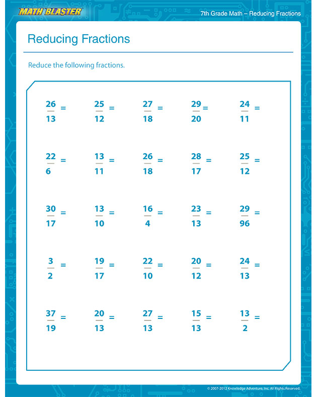 Free Printable 7th Grade Math Worksheets