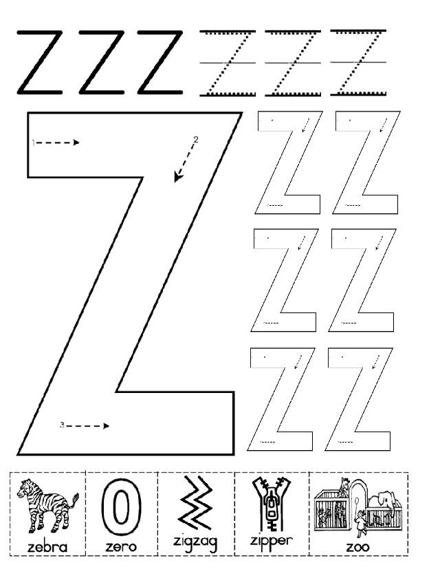 Letter Z Free Printable Worksheets
