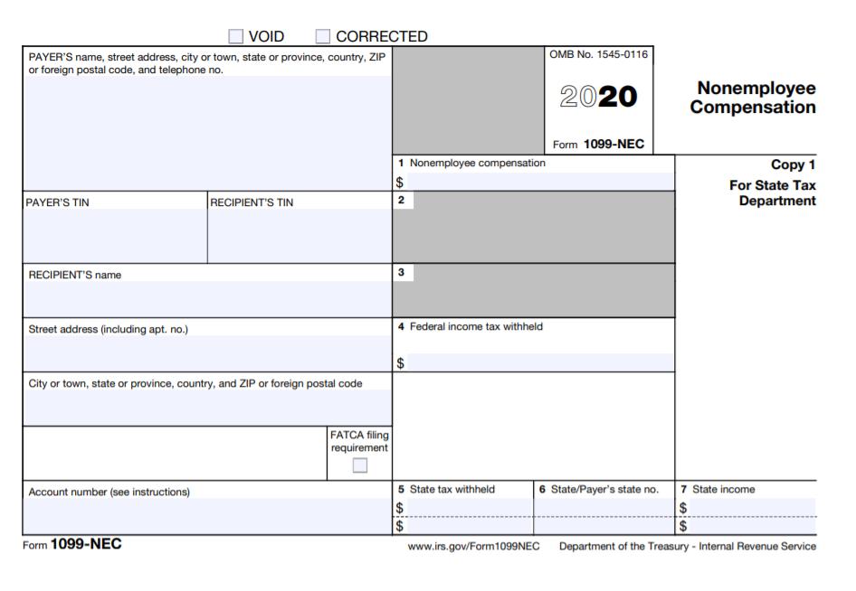 Free Printable 1099-nec Form 2020