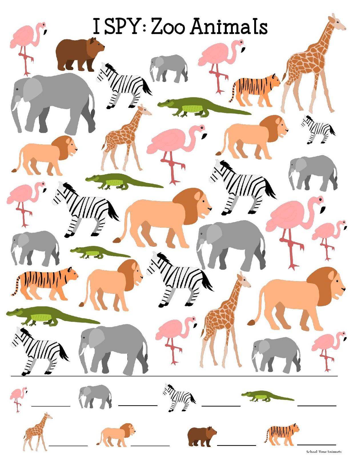 Free Printable Zoo Animals